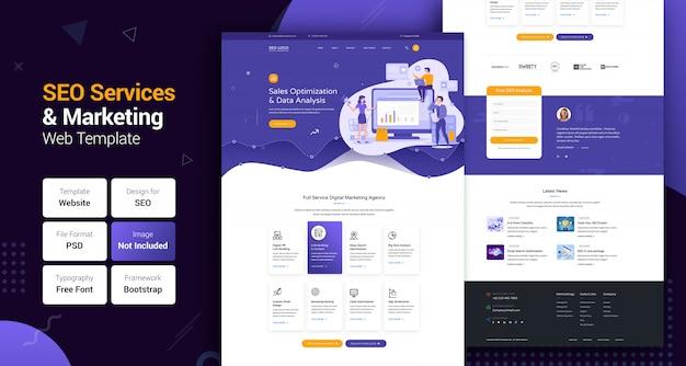 Serviços de seo e marketing web template para agência digital