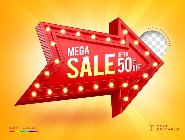 Seta iluminada com luzes 3d com mega sale Psd Premium