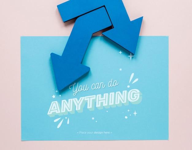 Setas azuis com você pode fazer qualquer coisa letras