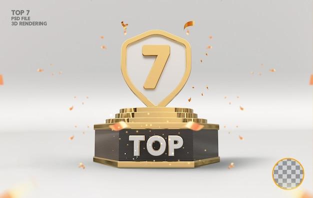 Sete melhores prêmios de pódio com renderização 3d dourada