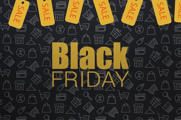Sexta-feira negra design com etiquetas amarelas
