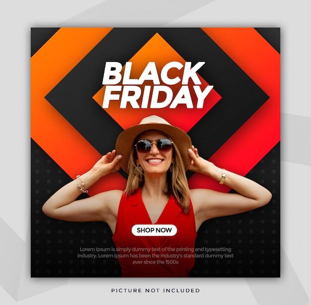 Sexta-feira negra venda banner tamanho quadrado para instagram