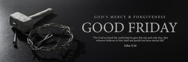 Sexta-feira santa banner design jesus cristo coroa de espinhos pregos e martelo renderização 3d