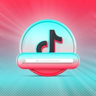 Siga-me na mídia social tiktok perfil do ícone do banner renderização 3d no terço inferior