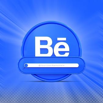 Siga-me nas redes sociais do behance perfil do ícone do banner renderização 3d no terço inferior