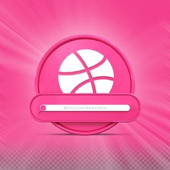 Siga-me nas redes sociais do dribbble perfil do ícone do banner renderização 3d no terço inferior