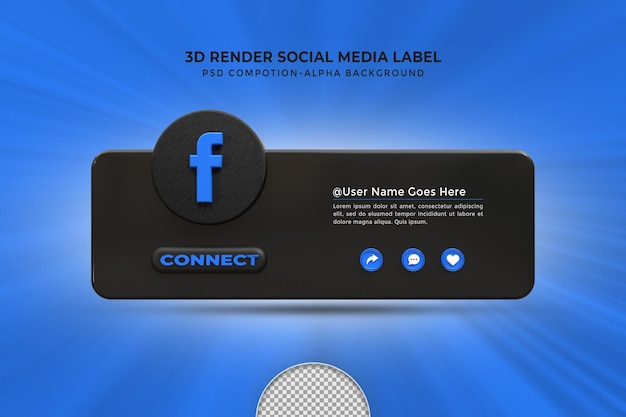 Siga-me nas redes sociais do facebook, terceiro inferior, ícone de renderização de design 3d distintivo com moldura