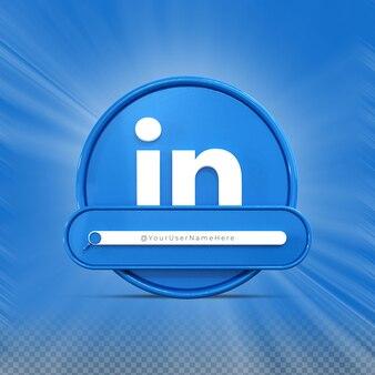 Siga-me nas redes sociais do linkedin perfil do ícone do banner renderização em 3d no terço inferior