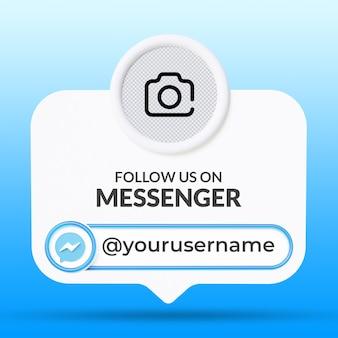 Siga-nos nas mídias sociais do messenger no modelo de banners do terço inferior