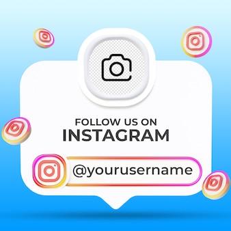 Siga-nos nas redes sociais do instagram, modelo de banners no terço inferior
