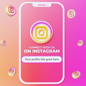 Siga-nos nas redes sociais do instagram post mockup