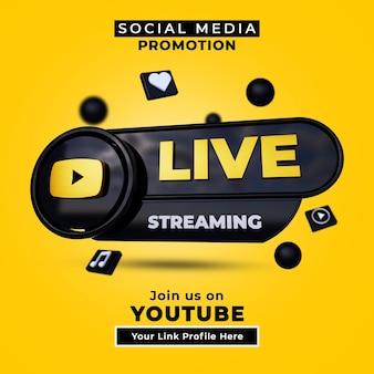 Siga-nos no banner de mídia social de streaming ao vivo do youtube com logotipo 3d e perfil de link