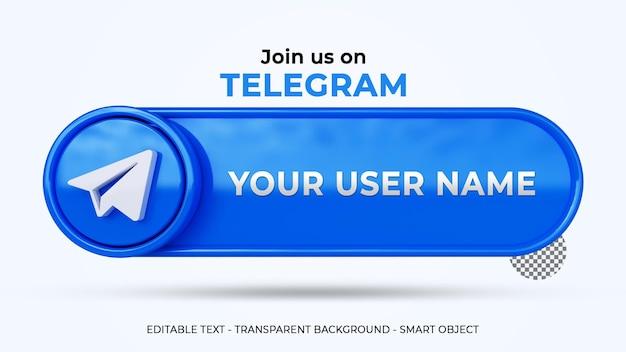 Siga-nos no banner do telegrama com logotipo 3d e perfil do link