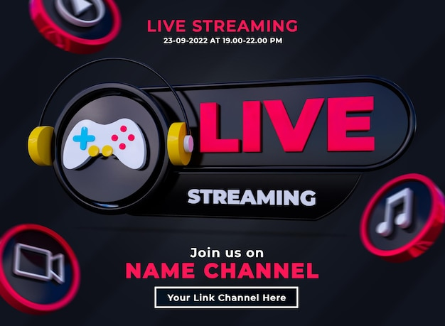 Siga-nos no banner quadrado de mídia social de streaming ao vivo com logotipo 3d e canal de link