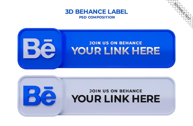 Siga-nos no banner quadrado de mídia social do behance com logotipo 3d e caixa de perfil de link