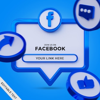 Siga-nos no banner quadrado de mídia social do facebook com logotipo 3d e perfil de link