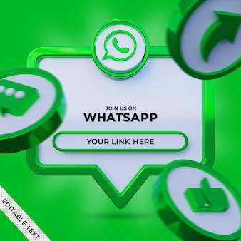 Siga-nos no banner quadrado de mídia social do whatsapp com logotipo 3d e perfil de link