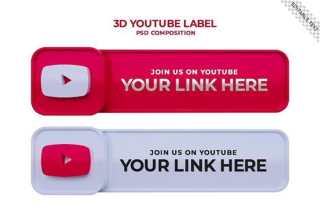 Siga-nos no banner quadrado de mídia social do youtube com logotipo 3d e caixa de perfil de link