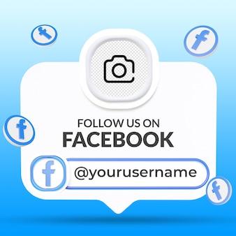 Siga-nos no facebook modelo de banners do terço inferior das redes sociais
