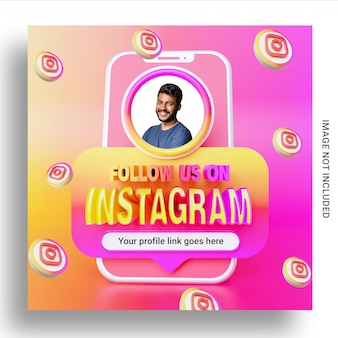 Siga-nos no modelo de banner quadrado de mídia social do instagram