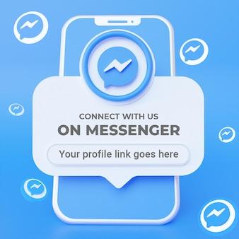 Siga-nos no modelo de banner quadrado de mídia social do messenger