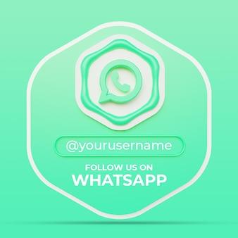 Siga-nos no modelo de banner quadrado de perfil de mídia social do whatsapp