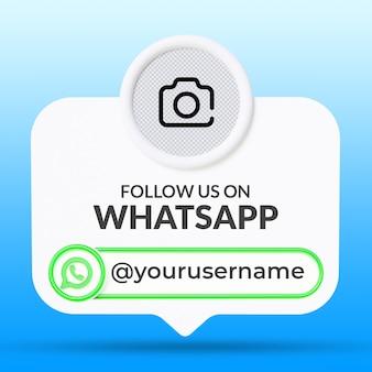 Siga-nos no modelo de banners da terceira parte inferior das mídias sociais do whatsapp