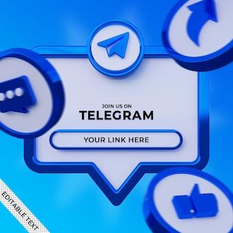 Siga-nos no telegrama banner quadrado de mídia social com logotipo 3d e perfil de link