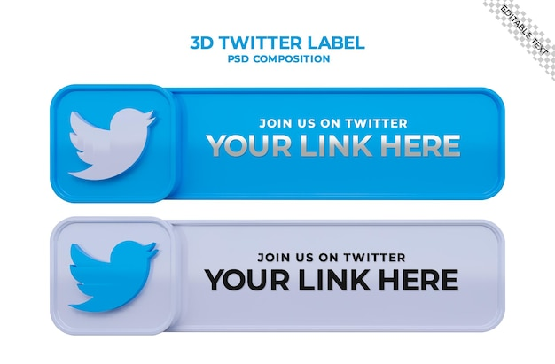 Siga-nos no twitter banner quadrado de mídia social com logotipo 3d e caixa de perfil de link