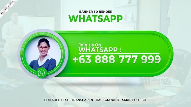 Siga-nos no whatsapp banner quadrado de mídia social com logotipo 3d e caixa de perfil de link