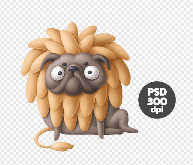 Signo de leão, personagem de pug engraçado em traje de leão