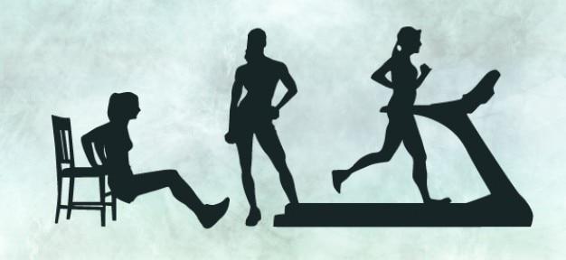 Silhuetas de fitness feminino definido