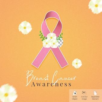 Símbolo 3d de conscientização do câncer de mama para banner de mídia social