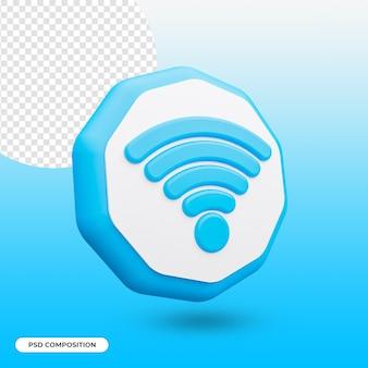 Símbolo 3d de rede sem fio wi-fi