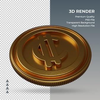 Símbolo da moeda moeda costa rica, cólon, ouro, renderização em 3d, vista esquerda
