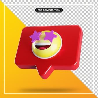 Símbolo de emoji de rosto atingido por estrela no balão de fala