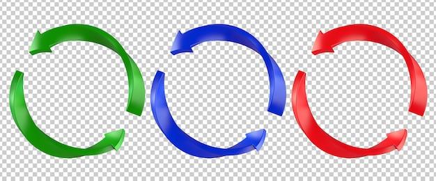 Símbolo de página da seta de atualização de torção vermelha, verde e azul
