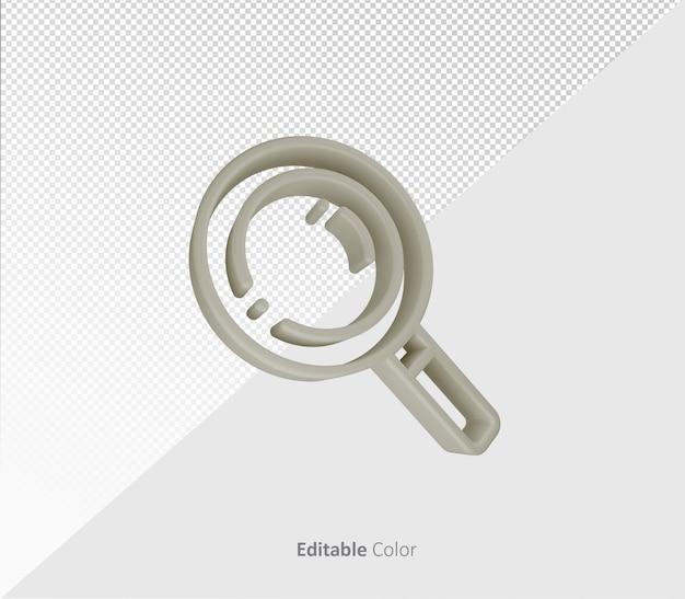 Símbolo de pesquisa 3d ou modelo psd de ícone com cor editável