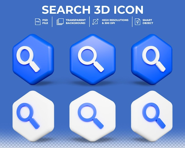 Símbolo de pesquisa 3d realista ícone 3d isolado
