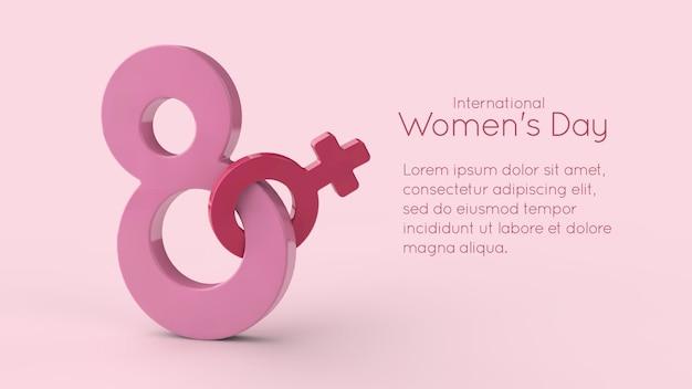 Símbolo do dia internacional da mulher em renderização 3d