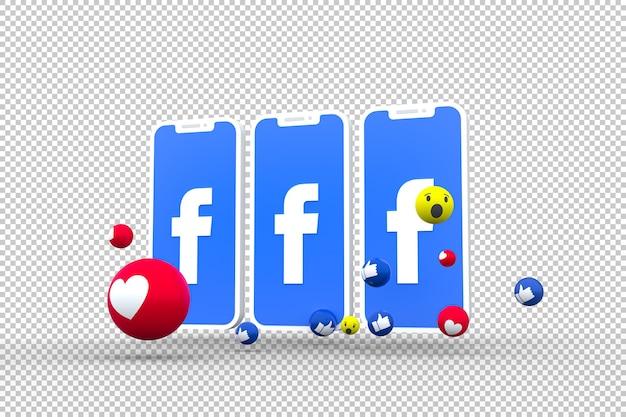 Símbolo do facebook na tela do smartphone ou celular e reações do facebook