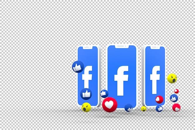 Símbolo do facebook na tela do smartphone ou das reações do celular e do facebook renderização em 3d