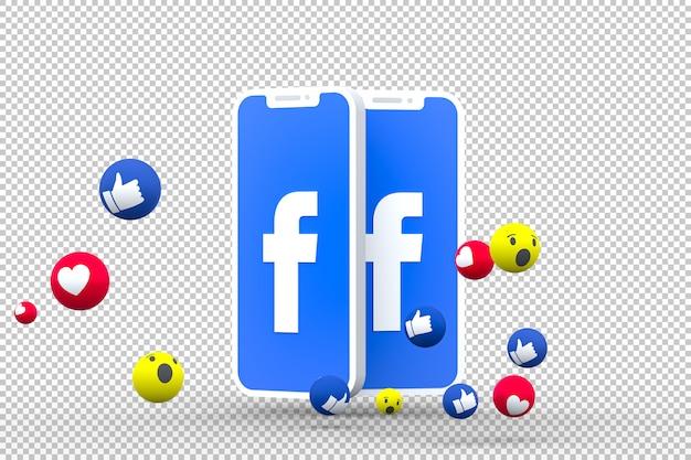 Símbolo do facebook na tela do smartphone ou nas reações do celular e do facebook amam, uau, como emoji 3d