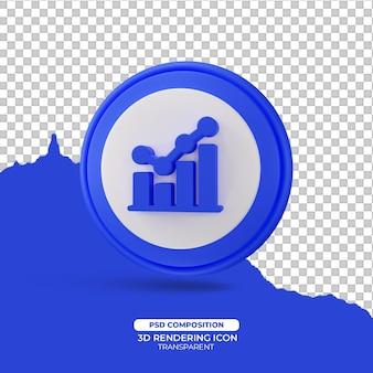 Símbolo do ícone de renderização 3d de estatísticas
