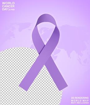 Símbolo do mês da conscientização do dia mundial do câncer, renderização 3d isolada