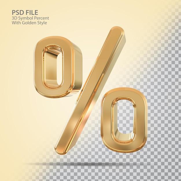 Símbolo percent 3d com estilo dourado