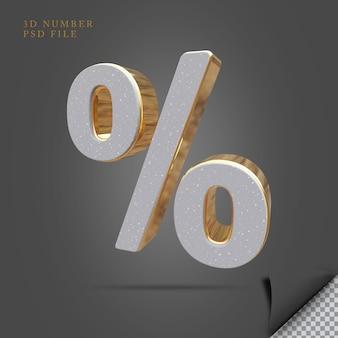 Símbolo por cento 3d render pedra com ouro