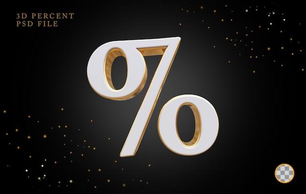 Símbolo por cento renderização em 3d luxo