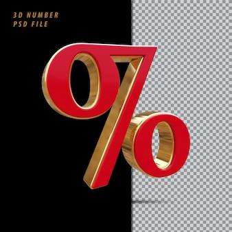 Símbolo por cento vermelho com renderização 3d dourada