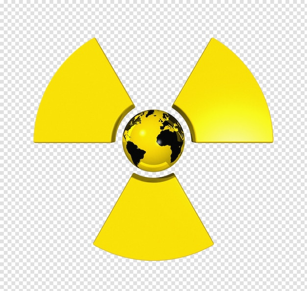 Símbolo radioativo 3d com mapa mundial